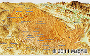 Political Shades Panoramic Map of Phongsaly, physical outside
