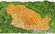 Political Shades Panoramic Map of Phongsaly, satellite outside