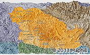 Political Shades Panoramic Map of Phongsaly, semi-desaturated