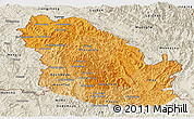 Political Shades Panoramic Map of Phongsaly, shaded relief outside