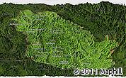 Satellite Panoramic Map of Phongsaly, darken