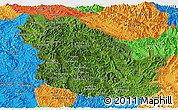 Satellite Panoramic Map of Phongsaly, political outside