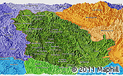 Satellite Panoramic Map of Phongsaly, political shades outside