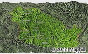Satellite Panoramic Map of Phongsaly, semi-desaturated