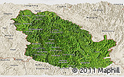 Satellite Panoramic Map of Phongsaly, shaded relief outside