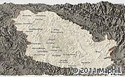 Shaded Relief Panoramic Map of Phongsaly, darken