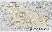 Shaded Relief Panoramic Map of Phongsaly, desaturated