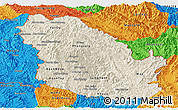 Shaded Relief Panoramic Map of Phongsaly, political outside