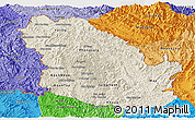 Shaded Relief Panoramic Map of Phongsaly, political shades outside