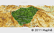 Satellite Panoramic Map of Phongsaly, physical outside