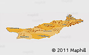 Political Shades Panoramic Map of Saravane, cropped outside