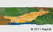 Political Shades Panoramic Map of Saravane, darken