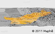 Political Shades Panoramic Map of Saravane, desaturated