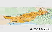 Political Shades Panoramic Map of Saravane, lighten