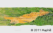Political Shades Panoramic Map of Saravane, satellite outside