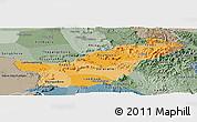 Political Shades Panoramic Map of Saravane, semi-desaturated