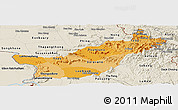 Political Shades Panoramic Map of Saravane, shaded relief outside