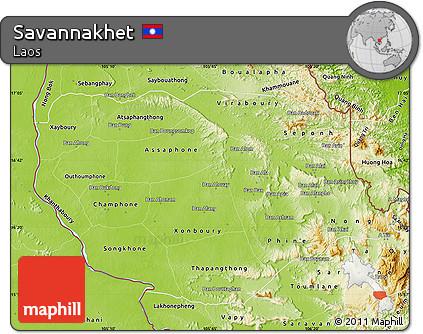 Free Physical Map of Savannakhet