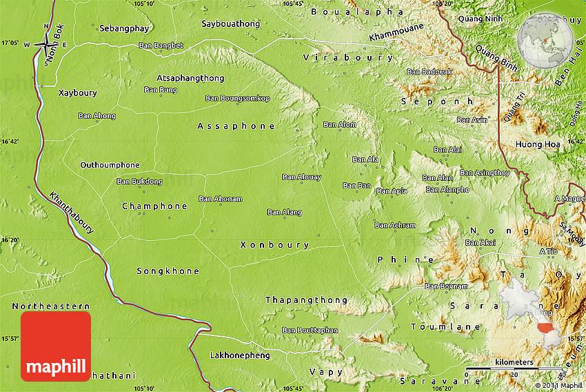 Physical Map of Savannakhet