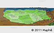 Political Shades Panoramic Map of Savannakhet, darken