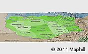 Political Shades Panoramic Map of Savannakhet, semi-desaturated