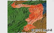 Political Shades Panoramic Map of Sayabouri, darken