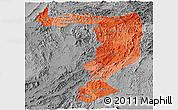 Political Shades Panoramic Map of Sayabouri, desaturated