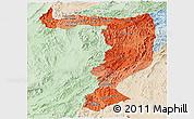 Political Shades Panoramic Map of Sayabouri, lighten