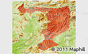 Political Shades Panoramic Map of Sayabouri, physical outside