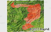 Political Shades Panoramic Map of Sayabouri, satellite outside