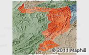 Political Shades Panoramic Map of Sayabouri, semi-desaturated