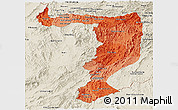 Political Shades Panoramic Map of Sayabouri, shaded relief outside