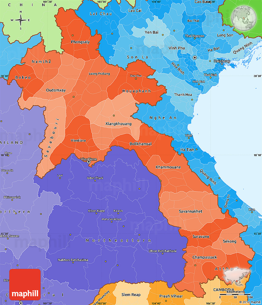 Political Shades Simple Map of Laos