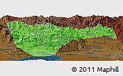 Political Shades Panoramic Map of Vientiane 2, darken