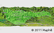 Political Shades Panoramic Map of Vientiane 2, satellite outside