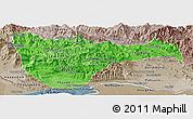 Political Shades Panoramic Map of Vientiane 2, semi-desaturated