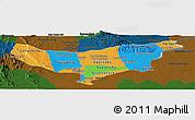 Political Panoramic Map of Vientiane (Munic.), darken