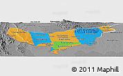 Political Panoramic Map of Vientiane (Munic.), desaturated
