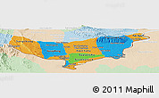 Political Panoramic Map of Vientiane (Munic.), lighten