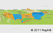Political Panoramic Map of Vientiane (Munic.), physical outside