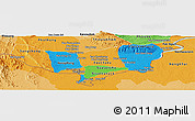 Political Panoramic Map of Vientiane (Munic.), political shades outside