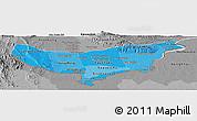 Political Shades Panoramic Map of Vientiane (Munic.), desaturated