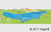 Political Shades Panoramic Map of Vientiane (Munic.), physical outside