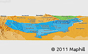 Political Shades Panoramic Map of Vientiane (Munic.)