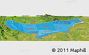 Political Shades Panoramic Map of Vientiane (Munic.), satellite outside
