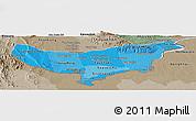 Political Shades Panoramic Map of Vientiane (Munic.), semi-desaturated
