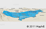 Political Shades Panoramic Map of Vientiane (Munic.), shaded relief outside