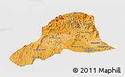 Political Shades Panoramic Map of Vientiane, cropped outside