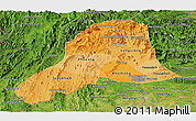 Political Shades Panoramic Map of Vientiane, satellite outside