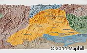 Political Shades Panoramic Map of Vientiane, semi-desaturated